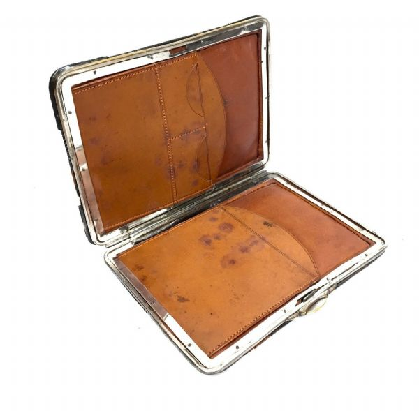 Charles Penny Brown Antique Silver Hallmark 1897 Mounted Brown Leather Wallet